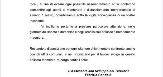 COVID: INVITO DELL'ASSESSORE DEL COMMERCIO DI MIRANDOLA ALLE MEDIO GRANDI STRUTTURE DI VENDITA